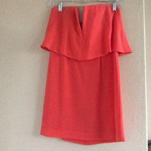 BCBG coral tube top V mini dress